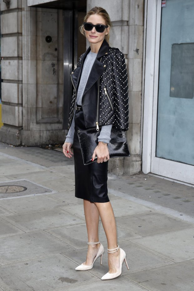 Olivia Palermo leather jacket