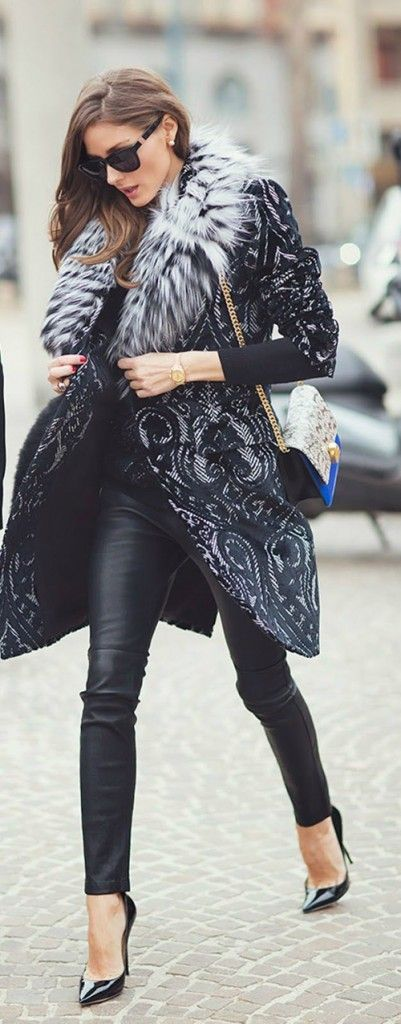 Olivia Palermo fur collar